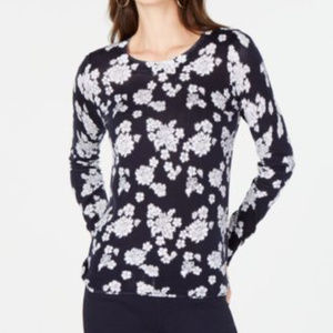 Michael Kors Floral-Print Sweater True Navy White